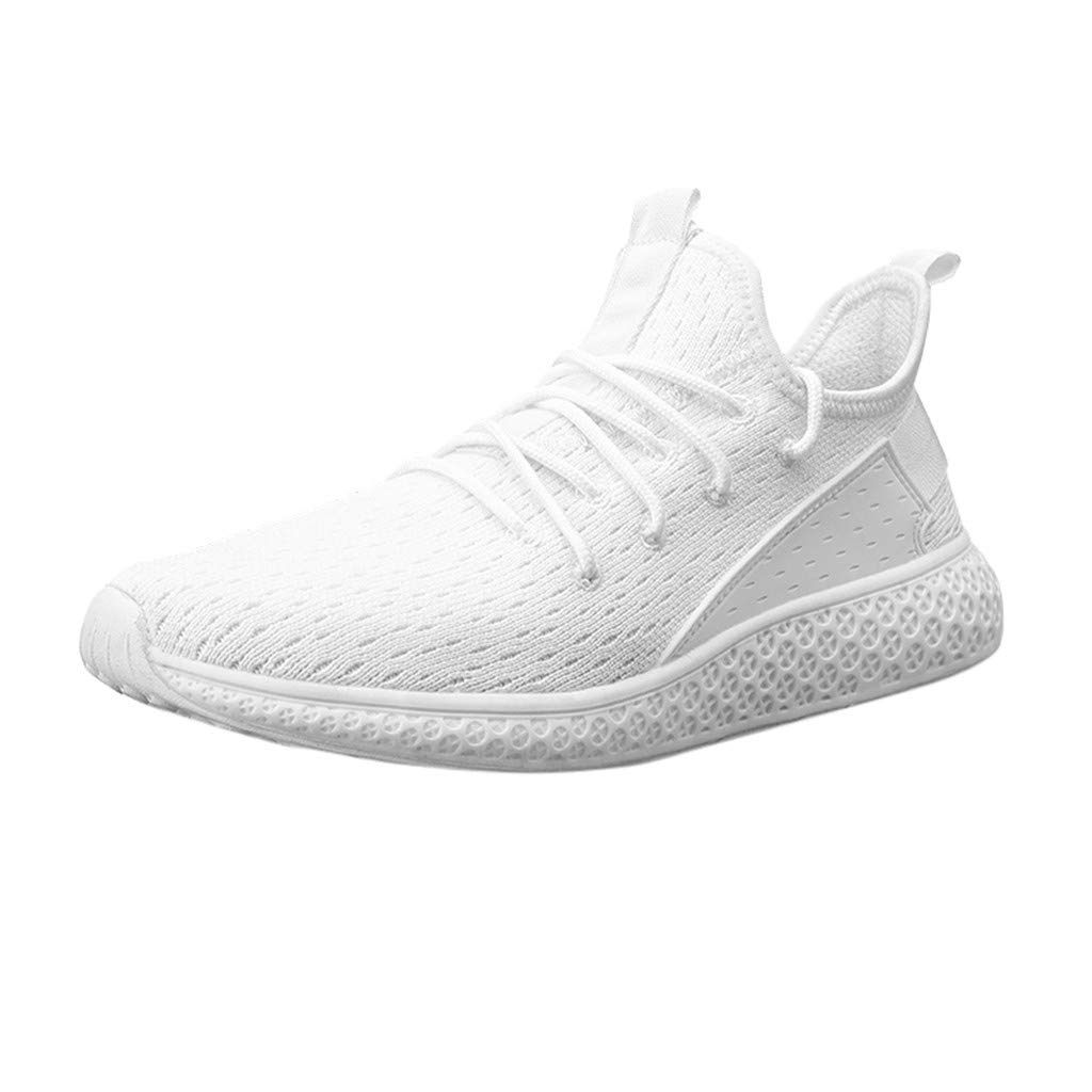 Men Women Casual Sneakers, LIM&Shop  Summer Outdoor Sports Shoes Mesh Panel Breathable Flats Lace Up Running Work Out White by LIM&SHOP-Sandals & Sneakers