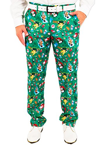 Men's The Festive Elf Holiday Christmas Suit Pants in Green by Festified (Christmas Elf Suit)