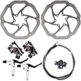 Disc Brake Kit InsReve NV-5 HS1 Mountain Bicycle Bike Mechanical Front and Rear 160mm Caliper Rotor BB5 BB7 BB-5 BB-7, with Handle, Black
