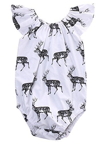 Hotone Newborn Princess Baby Girl Deer Romper Jumpsuit Bodysuit Sunsuit Outfits Clothes (0-6 Months, White)