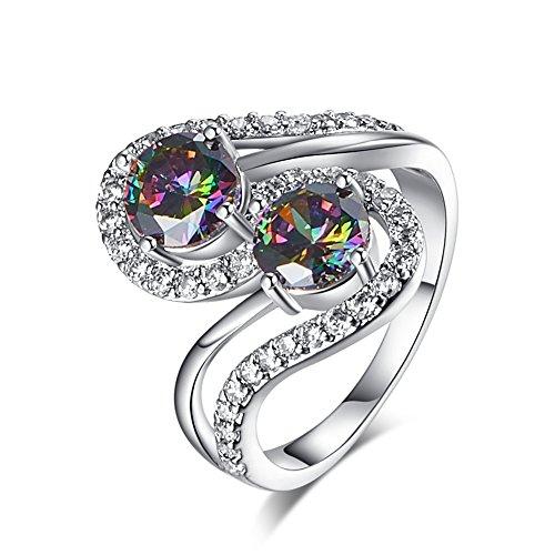 - Narica Women's Brilliant 6mm 2PCS Round Cut Rainbow Topaz Wedding Ring Band