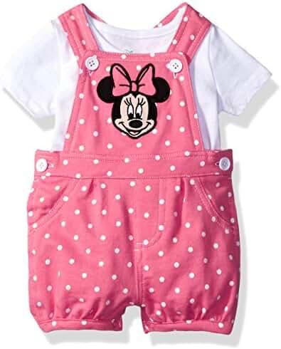 Disney Baby Girls' Minnie Mouse 2-Piece Shortall and T-Shirt Set