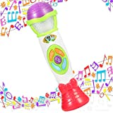 Lumiparty Kids Voice Recorder & Changer Microphone 8 Music Song Melody 4 Tone Pitch Mode Sing Dance Gift for Toddlers Record Baby Babble Rattle Playback with Colorful Light Musical Karaoke Toy (Green)