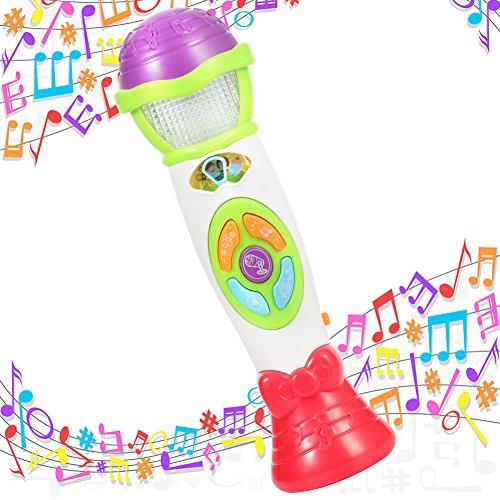 Recorder & Changer Microphone 8 Music Song Melody 4 Tone Pitch Mode Sing Dance Gift for Toddlers Record Baby Babble Rattle Playback with Colorful Light Musical Karaoke Toy (Green) ()