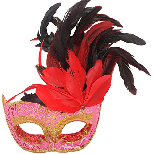 Masquerade Mask, Coxeer Venetian Mask Mardi Gras Mask Halloween Costume Feather Mask (Red Halloween Mask)