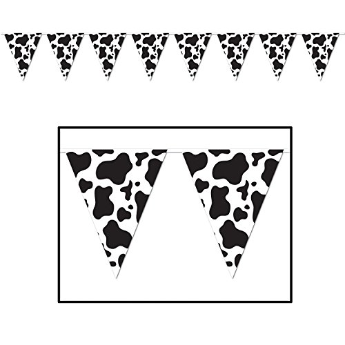 Cow Print Pennant Banner Party Accessory (Value 3-Pack) -