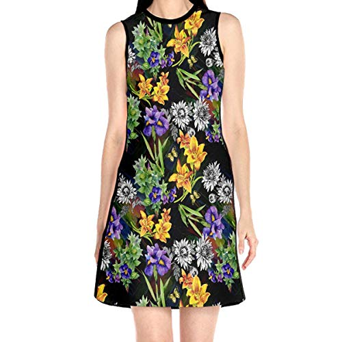 Garden Lily Iris African Violet Pattern Women's Sleeveless Dress Chemise Frock Personalized Crew Neck Dress Without ()