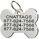 Stainless Steel Pet ID Tags Personalized Various Shapes Front and Back Engraving (Bone, Regular)