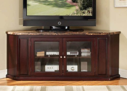 Nevin collection corner unit espresso finish wood with faux brown marble top TV stand entertainment center with glass front center cabinet