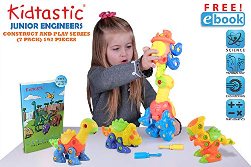 Kidtastic Dinosaur Toys, STEM Learning (106 pieces), Take Apart Fun (Pack of 3), Construction Engineering Building Play Set For Boys Girls Toddlers, Best Toy Gift Kids Ages 3yr – 6yr, 3 Years and Up