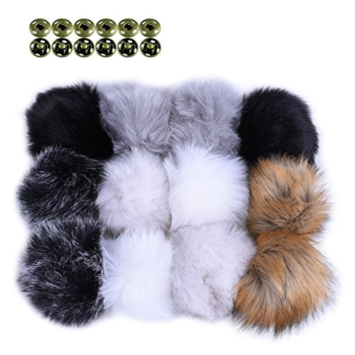 JINSEY 12pcs Faux Fake Fox Fur Fluffy Pom Pom Balls with Snap for Knitting Pompom Hat Hats Keychains Purse Charms Craft Making Supply by JINSEY