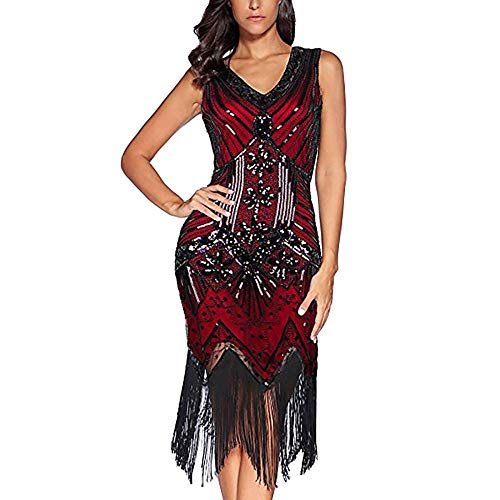 Women's Slim Sexy V-Neck Dress Fringe Sequins Starlight with Decorative Flower Dress Retro Cocktail Prom Dress (Burgundy,L) -