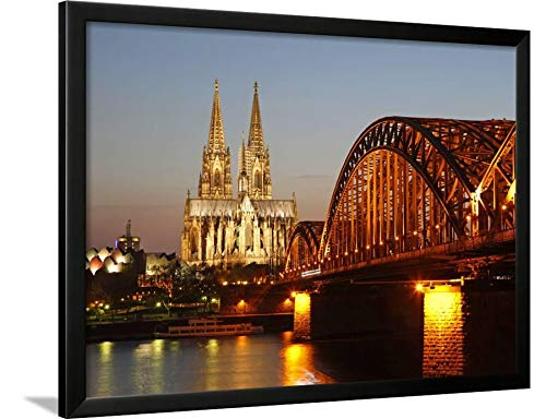 ArtEdge Hohenzollern Bridge Over The River Rhine and Cathedral, UNESCO World Heritage Site, Cologne, North by Hans Peter Merten, Black Wall Art Framed Print, 24 x 32, Unmatted (River Framed Rhine)