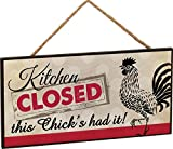 Kitchen Decor Items Kitchen Closed Rooster Wooden Sign with Jute Rope Hanger