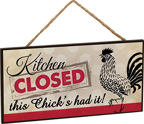 1 X Kitchen Closed Rooster Wooden Sign with Jute Rope Hanger