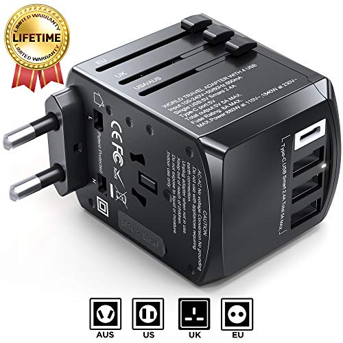 Gimars Upgraded Stable Connected Universal Travel Adapter, Worldwide All in One International Power Plug Adapter with Type C Type A Type G Type I Plugs, 4 USB Port for US EU UK AUS Asia 200 Countries