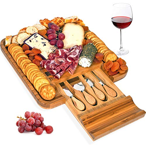 Wood Cheese Set - Bamboo Cheese Board and Knife Set, Wood Charcuterie Platter and Serving Meat & Cheese Board with Slide-Out Drawer for Cutlery, 4 Stainless Steel Knives and Server Set - By Frux Home and Yard