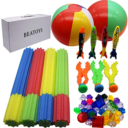 JOINBO BEATOYS 41 PCS Summer Diving Sets with 4 Water Blaster, 4 Torpedoes, 3 Diving Seaweeds, 2 Beach Balls, 8 gems and 20 Diving Jewels (Best Volleyball Pc Game)