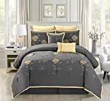 7 Piece Modern Oversize Grey / Yellow Sunflower Embroidered Comforter set FULL Size Bedding
