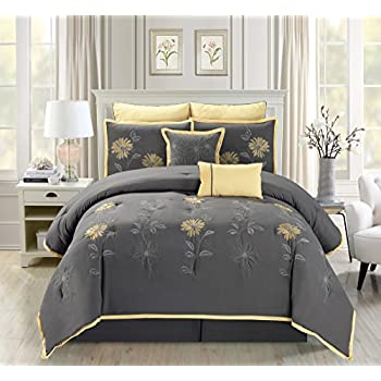 7 piece modern oversize grey yellow sunflower embroidered comforter set king size bedding