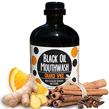 Black Oil Mouthwash, Sweet Orange Cinnamon Spice. Coconut Sesame Avocado Oil Super Blend, 15 oz Glass Bottle, Activated Charcoal Xylitol for Oil Pulling. Whitening, dry mouth remineralization