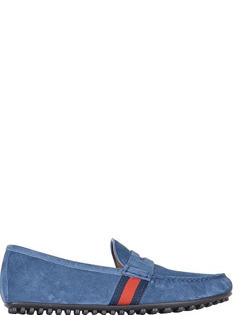 Gucci Hombre 407411CMAK04760 Azul Claro Gamuza Mocasín: Amazon.es: Zapatos y complementos