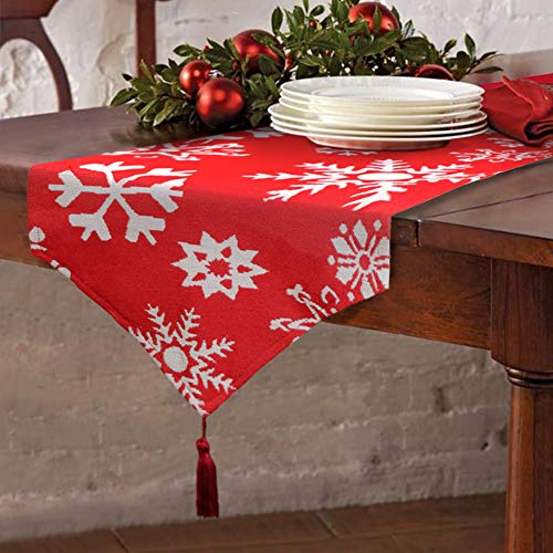 """Christmas Table Runner Red Embroidered White Snowflake for Dining Thanksgiving Cotton Tablecloth for Holiday Make Your Table Shine 13x72"""" ()"""