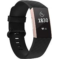 Adepoy für Fitbit Charge 3 Armband, Verstellbarer klassischer Sport Ersatzarmband Kompatibel mit Fitbit Charge 3/ Charge 3 SE, Damen Herren Klein Groß