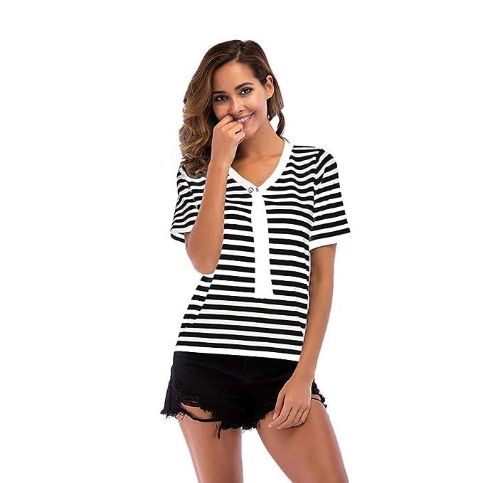 Battercake Camisetas Mujer Verano Elegantes Moda Hermoso Tops Casuales Mujeres Manga Corta V Cuello Flecos Moda Joven Blusas Camisas: Amazon.es: Ropa y ...