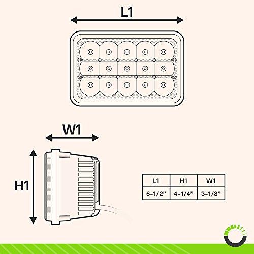 2pc Universal 4x6 45W LED Rectangular Sealed Beam Headlight embly with on