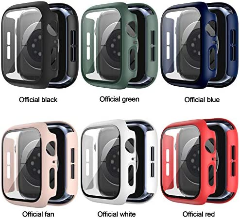6 Pack Hard Case for Apple Watch Series 3 38mm with Built-in Tempered Glass Screen Protector,JZK Thin Bumper Full Coverage Bubble-Free Cover for iWatch Series 3/2/1 38mm Accessories