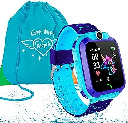 Koopete.Smartwatch niños Impermeable.Regalo de Mochila.Reloj Inteligente,con Llamadas,localizador LBS,cámara Fotos,botón SOS,Pantalla ...