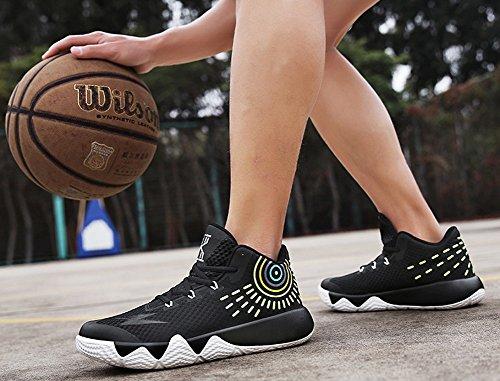 Jiye Mens Athlétique Basket-ball Sport Chaussures Respirant Running Mode Sneakers Par Noir Blanc