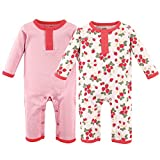 Hudson Baby Cotton Union Suit, 2 Pack, Strawberries, 3-6 Months (6M)