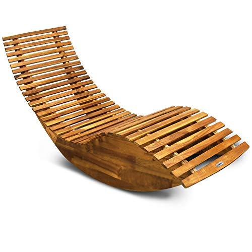 🥇 Casaria Tumbona mecedora con forma ergonómica de madera de acacia función balancín chaise longue 150x60x93cm jardín