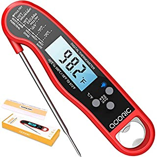 Digital Meat Thermometer, Adoric Ultra-Fast Reading Waterproof Thermometer with Backlight Calibration Digital Food Thermometer for Kitchen, BBQ, and Grill