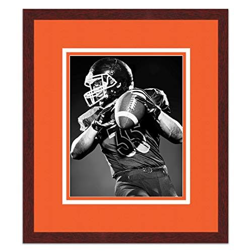 Sports Frames University of Texas Black Wood Frame with Longhorns Triple Mat Colors - Made to Display 8