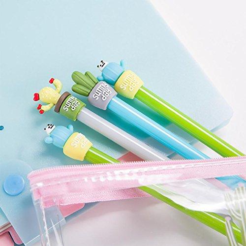 SUPPION 4PC Cartoon Cactus Gel Black Pens Kawaii Pens Cute Office Stationery Student Gift Photo #7