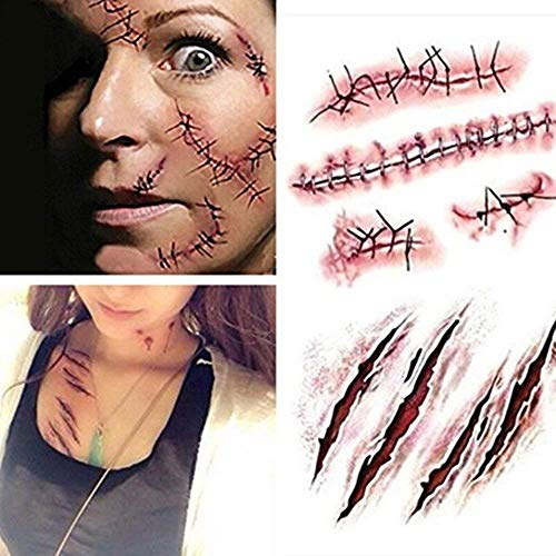 10Pcs Halloween Zombie Scar Tattoos Fake Scars Bloody Costume Makeup Halloween Decoration Horror Wound Scary Blood Injury Sticker]()