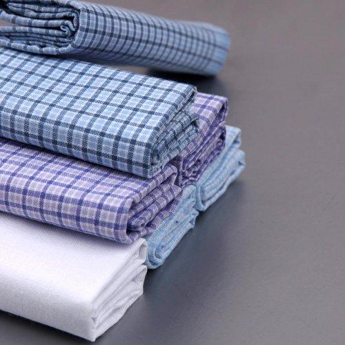 YEC0103 Checkered 7 Piece In Present Box Y&G 100 Cotton Men'S Handkerchiefs - Blue,Purple,White