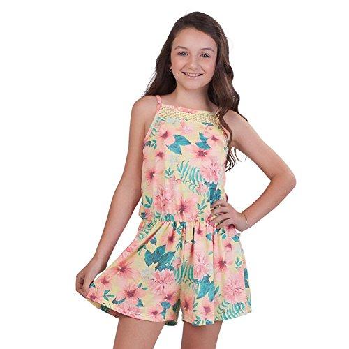 Price comparison product image Pulla Bulla Big Girl Floral Romper Sleeveless Jumpsuit Size 10 Lemon