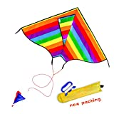 Kite 45x25 Inches Huge Rainbow Kites for Kids and Adults with Long Tail,kite Line String and spool, Single Line Girls and Boys Kite Easy Flyer, One of the Best Outdoor toys for kids and Family Games