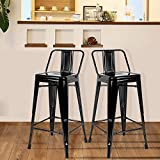 Merax Metal Bar Stools Cafe Chairs Low Back, 26-Inch, Set of 2 (Traffic Black)
