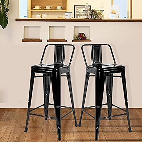 Cool Amazon Com Dercass Set Of 2 Metal Bar Stools Stackable Bralicious Painted Fabric Chair Ideas Braliciousco
