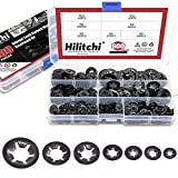 Hilitchi 600-Pcs [7-Size] Internal Tooth Starlock Washers Assortment Kit, Quick Speed Locking Washers, Black Oxide Finish