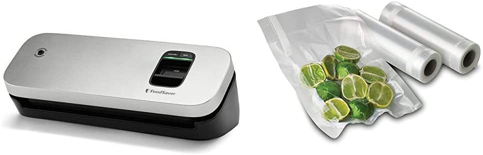 FoodSaver 31161366 Space Saving Food Vacuum Sealer, 5.7 x 12.2 x 4.3 inches, Silver & FSFSBF0526-P00 8-Inch Roll Two-pack, 20 Feet Long