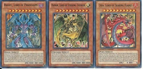 YuGiOh GX Legendary Collection 2 Single Card Ultra Rare Set of the 3 Sacred Beast Cards Uria, Hamon Raviel