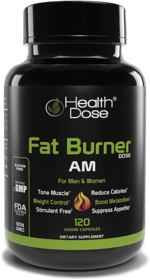 Fat Burner Dose Am Day-Time By Health Dose, 120 Vegetarian Capsules, Green Tea, L-Carnitine Tartrate, Uva Ursi, Garcinia Cambogia, Apple Cider Vinegar - More, Weight Loss for Men & Women Supplement.
