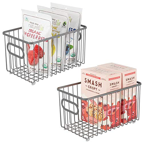 mDesign Metal Farmhouse Kitchen Pantry Food Storage Organizer Basket Bin - Wire Grid Design - for Cabinet, Cupboard, Shelves, Countertop, Closet, Bedroom, Bathroom - 10