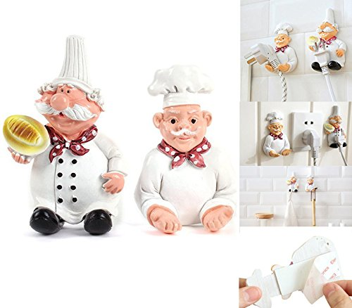 Diking Chef Figurines Power Plug Hook Wall Cable Holder Decorative Storage Organizer for Kitchen (Hand & Foot Holder) (Plug Holder)